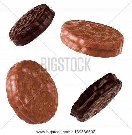 Chocolate cookies set isolated on the white background