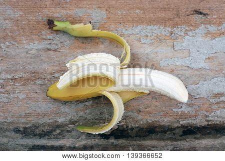 picture of a Banana. Ripe banana on wood cement background.