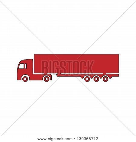 Detailed trucks silhouettes. Red flat simple modern illustration icon with stroke. Collection concept vector pictogram for infographic project and logo