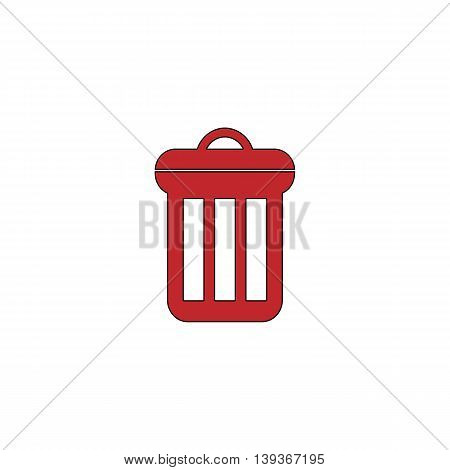 Urn. Red flat simple modern illustration icon with stroke. Collection concept vector pictogram for infographic project and logo