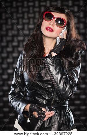 Charming Lady In Black Leather Jacket