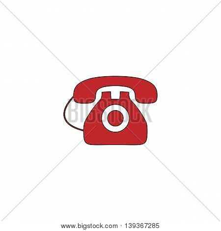 Office telephone. Red flat simple modern illustration icon with stroke. Collection concept vector pictogram for infographic project and logo