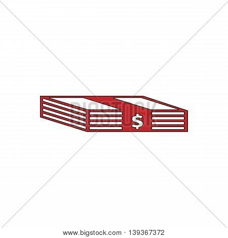 Bundle of Dollars. Red flat simple modern illustration icon with stroke. Collection concept vector pictogram for infographic project and logo