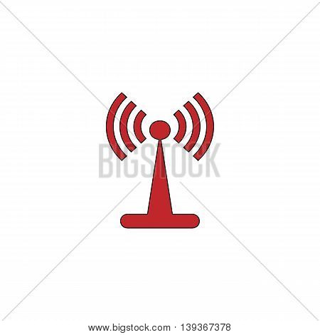 Wi-Fi. Red flat simple modern illustration icon with stroke. Collection concept vector pictogram for infographic project and logo