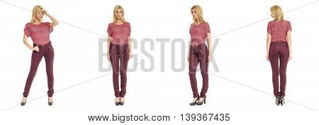 Portrait Of Young Slim Woman In Burgundy Pants Posing Isolated On White