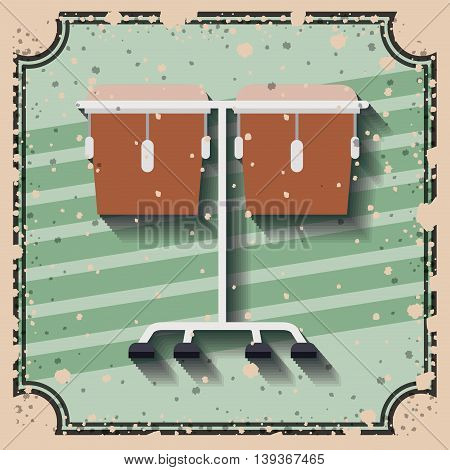 timbal instrument over retro background isolated icon design, vector illustration  graphic