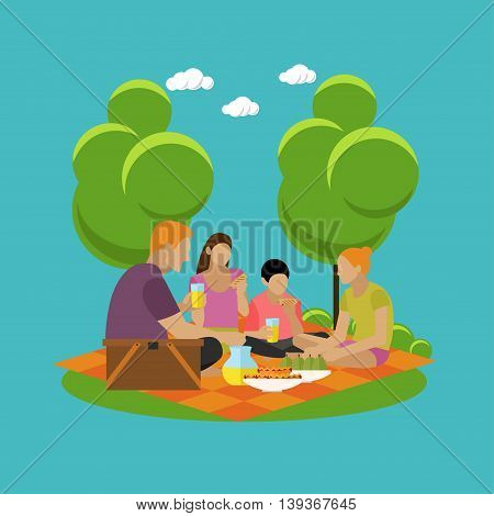 Vector illustration of summer recreation concept design elements. Cartoon labels. Family picnic and camping in a park flat icons.