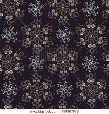 Oriental seamless floral background. Template for textile products. Design round ornament vector pattern.