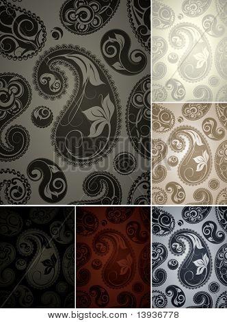 Wallpaper pattern, six colors seamless