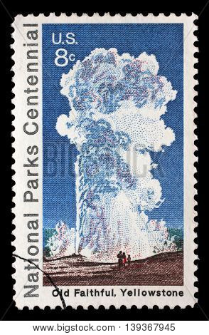 ZAGREB, CROATIA - JULY 03: A stamp printed by the USA shows eruption of Old Faithful geyser at Yellowstone National Park, circa 1972, on July 03, 2014, Zagreb, Croatia