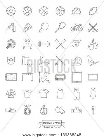 Summer Sports Events Line Icon Collection. Set of 42 vector symbols.