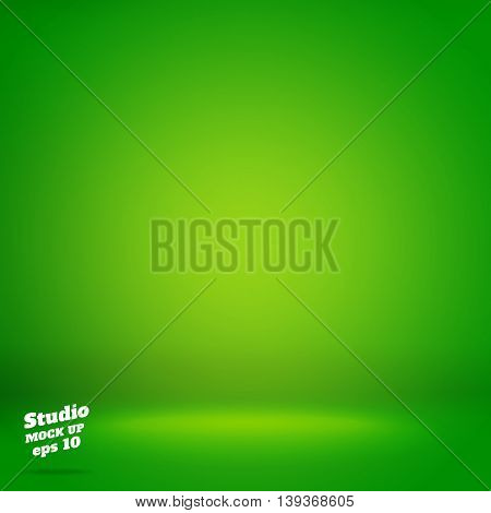 Vector,empty Vivid Lighting Green Studio Room Background ,template Mock Up For Display Or Montage Of