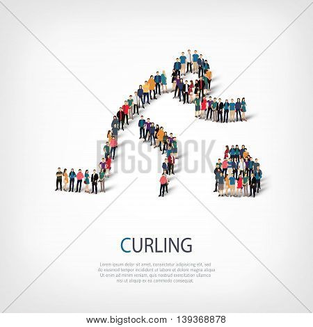 Isometric set of styles, people, sports, curling , web infographics concept of a crowded square, flat 3d. Crowd point group forming a predetermined shape. Creative people.  illustration.