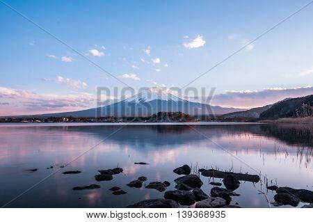 Mount Fuji at Kawaguchiko, reflection, twilight, japan