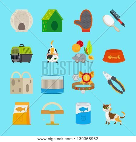 Cat icons. Pet cat toys and food signs vector illustration
