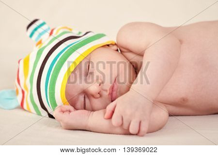 Sleeping gently cute little baby close up