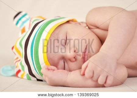 Beautiful Newborn Baby Sleeping On Blanket
