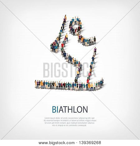 Isometric set of styles, people, sports, biathlon , web infographics concept of a crowded square, flat 3d. Crowd point group forming a predetermined shape. Creative people.  illustration.