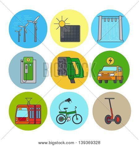Green power and eco transport flat line icons. Vector illustration