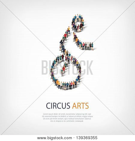 Isometric set of styles, people, sports, circus arts , web infographics concept of a crowded square, flat 3d. Crowd point group forming a predetermined shape. Creative people.  illustration.