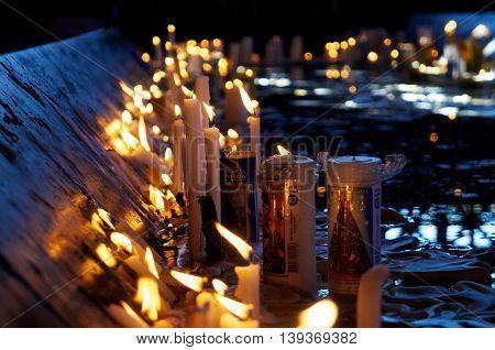 Candles in a catholic church in Brazil