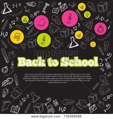 Freehand drawing school items on chalk board. Back to School. Vector illustration. Modern style banner concept.