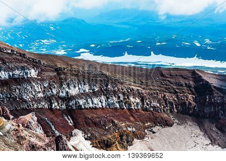Crater Of The Volcano Goreliy On Kamchatka, Russia