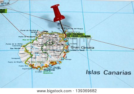Map with pin point of Las Palmas on Gran Canaria in Spain
