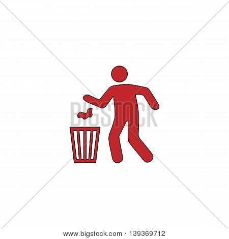 Bin and man. Red flat simple modern illustration icon with stroke. Collection concept vector pictogram for infographic project and logo