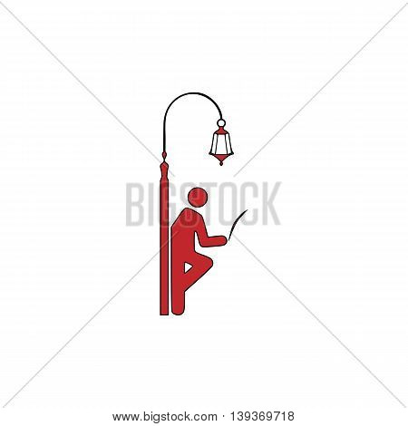 Businessman leaning on a lamppost in a tree, reading the newspaper. Red flat simple modern illustration icon with stroke. Collection concept vector pictogram for infographic project and logo