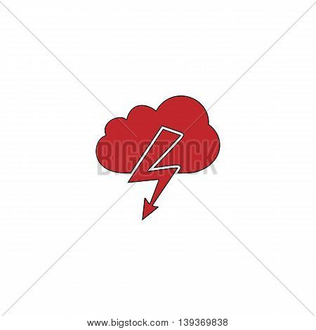 Cloud lightning. Red flat simple modern illustration icon with stroke. Collection concept vector pictogram for infographic project and logo