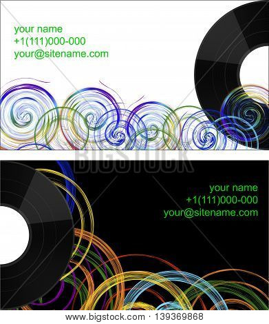 business card, a banner with the image of a vinyl disc on a rainbow abstract background