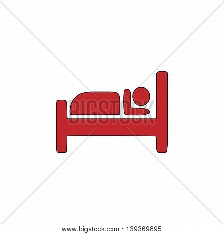 Hotel. Red flat simple modern illustration icon with stroke. Collection concept vector pictogram for infographic project and logo