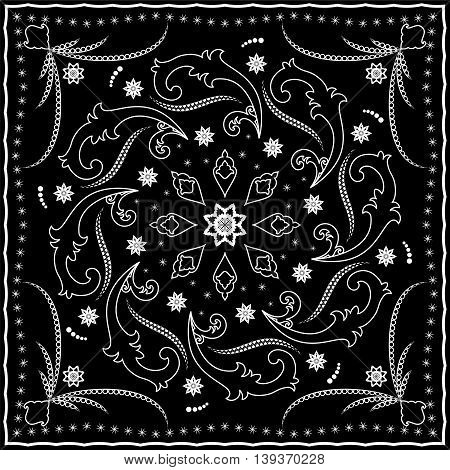 Black handkerchief with white ornament. Square pattern for print on fabric, vector illustration.