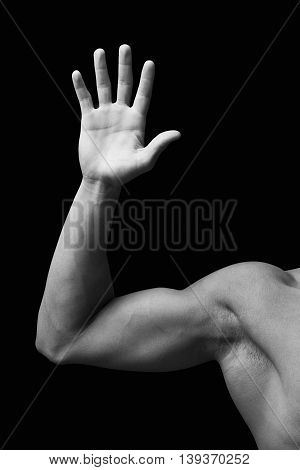 Hand man five signal in a black and white backgrownd