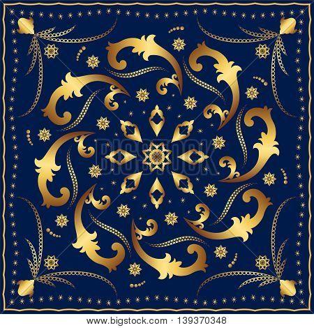 Dark blue carpet with gold pattern. Stylish design.