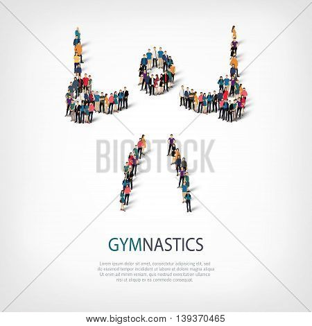 Isometric set of styles, people, sports, gymnastics, web infographics concept  illustration of a crowded square, flat 3d. Crowd point group forming a predetermined shape. Creative people.  illustration. Stock .3D illustration.