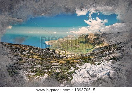 Beautiful landscape view of rocky mountains and clouds on the western part of Mallorca island, Spain. Vintage painting, background illustration, beautiful picture, travel texture