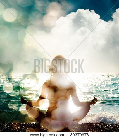 Woman Practicing Yoga on Nature Background. Rear View. Spiritual and Soul Concept. Healthy Lifestyle. Double Exposure Filtered Photo with Bokeh.