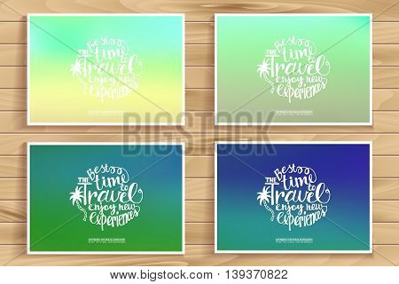 Travel time posters set. Blurred pixelate sea beach background. Travel time. Typography. Creative concept in a modern style. Mobile applications web sites graphic design.