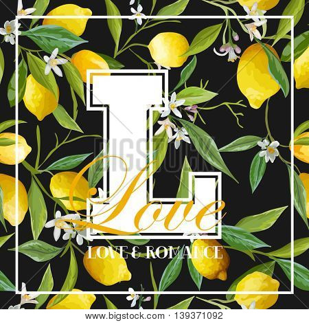 Vintage Lemons, Leaves and Flowers Graphic Design - for T-shirt, Fashion, Prints - in Vector