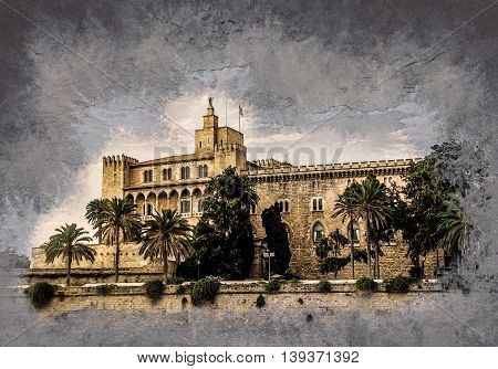 Almudaina palace with palm trees against blue sky and clouds, Palma de Mallorca, Balearic islands, Spain. Modern painting, background illustration.