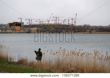 Construction of a football stadium in Rostov-on-Don for world cup 2018. Building condition in march 2016. View from rowing channel
