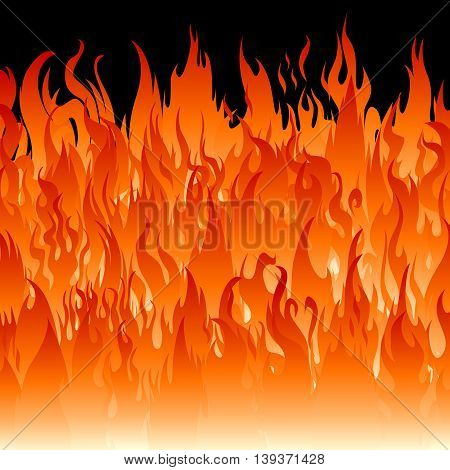 Fire flames square wallpaper. Vector abstract background.