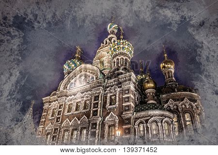Church on Spilled Blood in Saint Petersburg, Russia. One of the most beautiful churches in Russia. Vintage painting, background illustration, beautiful picture, travel texture