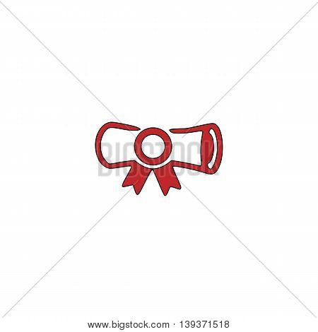 Diploma. Red flat simple modern illustration icon with stroke. Collection concept vector pictogram for infographic project and logo