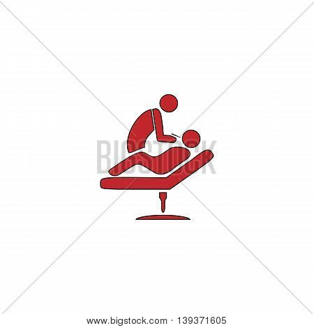 Dental clinic. Dentist treats teeth man in a chair. Red flat simple modern illustration icon with stroke. Collection concept vector pictogram for infographic project and logo
