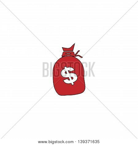 Sack of dollars. Red flat simple modern illustration icon with stroke. Collection concept vector pictogram for infographic project and logo