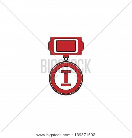 First place. Red flat simple modern illustration icon with stroke. Collection concept vector pictogram for infographic project and logo