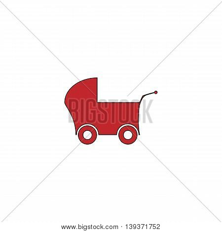 Buggy. Red flat simple modern illustration icon with stroke. Collection concept vector pictogram for infographic project and logo